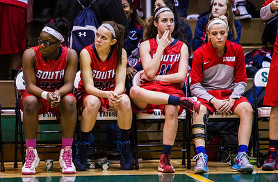 Kyle Grillot - kgrillot@shawmedia.com   The South Elgin bench watches as the game comes to a close during the fourth quarter of the girls class 4a sectional Tuesday in Crystal Lake. Huntley beat South Elgin, 49-32.