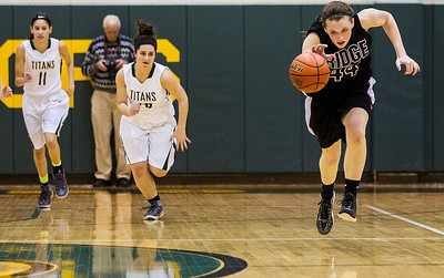Kyle Grillot - kgrillot@shawmedia.com   Prairie Ridge sophomore Kirsten Voel-Pel (44) dribbles towards the net during the fourth quarter of the girls class 4a sectional Tuesday in Crystal Lake. Boylan Catholic beat Prairie Ridge, 64-57.