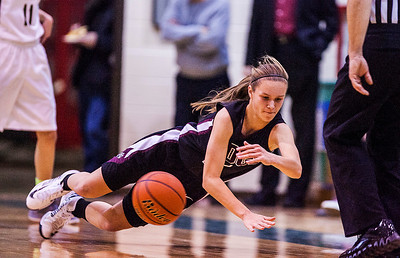 Kyle Grillot - kgrillot@shawmedia.com   Prairie Ridge senior Sarah Le Beau dives to save the ball from going out of bounds during the first quarter of the girls class 4a sectional Tuesday in Crystal Lake. Boylan Catholic beat Prairie Ridge, 64-57.