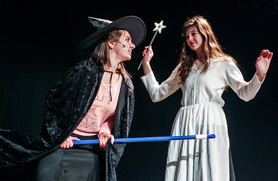 """Sarah Nader- snader@shawmedia.com Jen Wojcik (left) and Brittan Semler run a scene during rehearsal for Richmond-Burton's spring musical, """"The Wizard of Oz"""" on Tuesday, February 25, 2014. The musical opens on March 6 at 7 p.m.  and will also have shows on the March 8 at 7 p.m. and March 9 at 2 p.m."""
