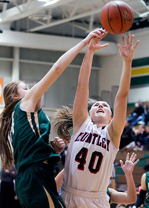 Sarah Nader- snader@shawmedia.com Boylan's Halle Stull (left) blocks a shot from Huntley's Samantha Andrews during the fourth quarter of Thursday's  Class 4A sectional final  February 27, 2014 in Crystal Lake. Huntley lost, 39-54.