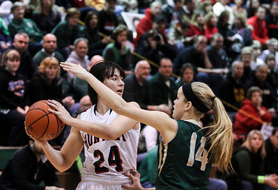 Sarah Nader- snader@shawmedia.com Huntley's Bethany Zornow (left) is guarded by Boylan's Allie Zimmerman during the first quarter of  Thursday's  Class 4A sectional final February 27, 2014 in Crystal Lake. Huntley lost, 39-54.