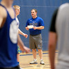 Geneva Head Coach Phil Ralston talks with his team during Geneva's Mike Landi shoots the ball during practice at the school Wednesday afternoon.
