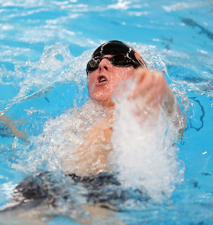 Jeff Krage – For Shaw Media<br /> DeKalb's Michael Carlson competes in the 200-yard individual medley during Saturday's IHSA sectional at St. Charles East High School.<br /> St. Charles 2/21/15