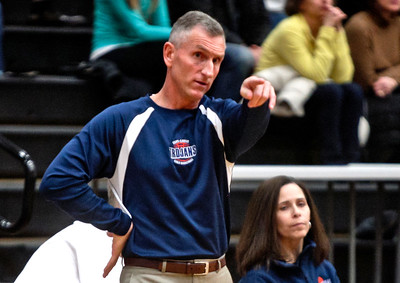 Michelle LaVigne/ For Shaw Media Cary-Grove's head coach Rod Saffert gives instruction during the opener of Class 4A McHenry Regional in McHenry on February 15, 2016.