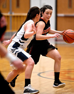 Michelle LaVigne/ For Shaw Media Cary-Grove's Nicollette Richardi (2) guards Crystal Lake Central's Natalie Freund (12) during the opener of Class 4A McHenry Regional in McHenry on February 15, 2016.