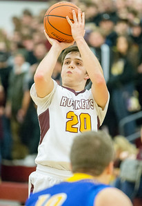 Richmond-Burton's Jakob Kaufman sinks a three-point shot in the second quarter Friday Feb. 2, 2017 at Richmond-Burton High School in Richmond. The Rockets went on to win 66-57. KKoontz – for Shaw Media