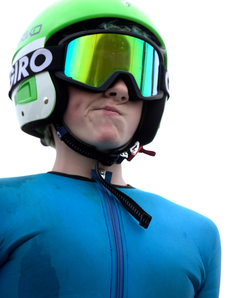 Flying Eagle ski jumper Logan Gundry prepares for a practice run Saturday, Feb. 11, 2017 at Norge Ski Club. Gundry placed second in the U16 division.