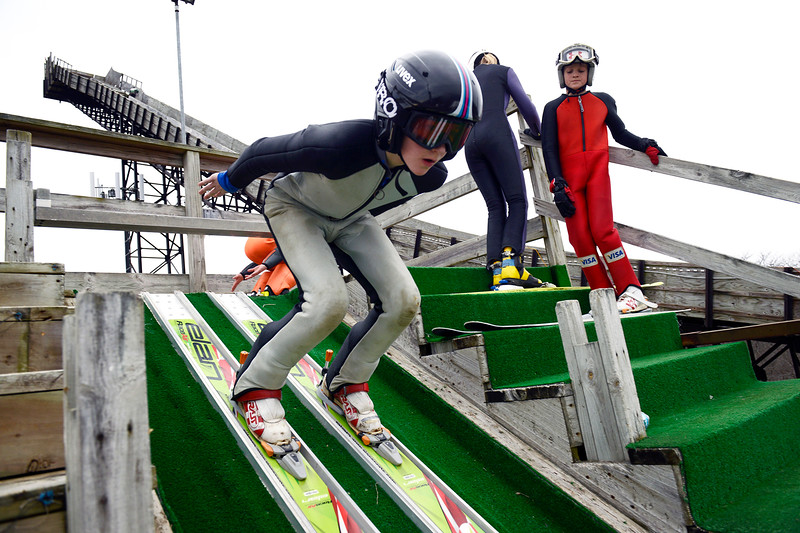 Norge ski jumper Jacob Fuller completes a practice run befor the U16 competition Saturday, Feb. 11, 2107, at Norge Ski Club. Fuller came in third place in the U16 competition.