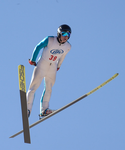 Kayla Wolf for Shaw Media– Class A jumper Brian Wallace of St. Paul, Minneapolis, completes his second and final jump Sunday, Feb. 12, 2017 at Norge Ski Club's 112th International Winter Tournament.  Wallace was the overall winner of the tournament with a final score of 233.5.