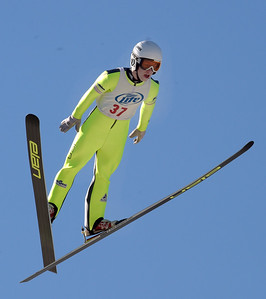 Kayla Wolf for Shaw Media– Norge Ski Club's  Patrick Gasienica (cq) flies through the air Sunday, Feb. 12, 2017 during the Class A division's second jump of the competition. Gasienica jumped 72 meters on his second jump and came in third place the Class A division.