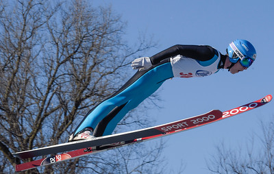 Kayla Wolf for Shaw Media– Flying Eagles competitor Nate Mattoon completes his second jump Norge Ski Club's 112th International Winter Tournament the competition consisted of jumpers off of the 70 meter track competing for cash prizes at Norge Ski Club in Fox River Grove on Sunday, Feb. 12, 2017.