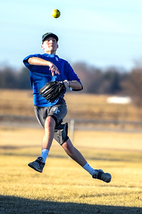 Kayla Wolf for Shaw Media– John Nemcek (cq) throws a softball to make a play Saturday, Feb. 18, 2017, during a pickup game at Lippold Park in Crystal Lake. The temperature reached 64 degrees according to the National Weather Service.