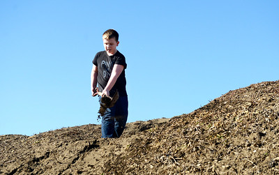 Kayla Wolf for Shaw Media– Colton Tooke digs a hole Saturday, Feb. 18, 2017, atop a mound of dirt in the Abbey Ridge subdivision in Crystal Lake. Neighbors were working in their yards and washing cars.