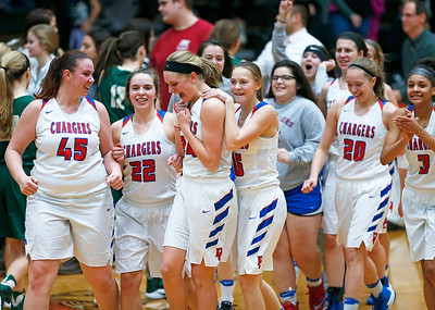 Dundee-Crown players celebrate after beating Crystal Lake South in their Class 4A regional final game at McHenry West on Thursday, February 16, 2017 in McHenry. The Chargers defeated the Gators 45-22.  John Konstantaras photo for the Northwest Herald