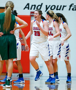 Allison Michalski (25) from Dundee-Crown is all smiles after making a shot and drawing a foul during the first quarter of their Class 4A regional final game against Crystal Lake South at McHenry West on Thursday, February 16, 2017 in McHenry. The Chargers defeated the Gators 45-22.  John Konstantaras photo for the Northwest Herald