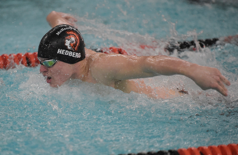 Hedberg swims the butterfly for McHenry West during a swim meet against Cary-Grove co-op swim team.   hspts_fri203_bswim_cg_mch