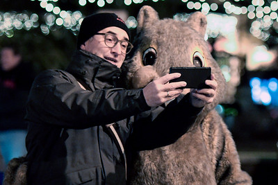 Hubert Michl(cq) of Munich, Germany, takes a selfie with Woodstock Willie the mascot, before the annual Groundhog Day festivities begin February 2, 2017, in Woodstock. Michl loves Groundhog Day the movie and made sure to schedule his meetings this week so he could fly in from Germany to conduct business and make a trip out to Woodstock.
