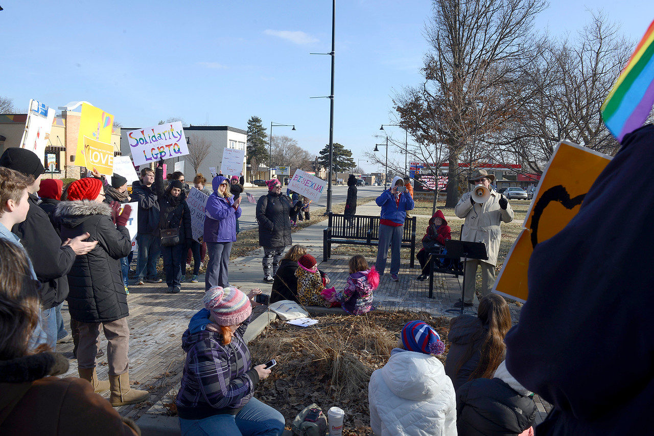 "Activists anticipating Trump's signing of an executive order on ""religious freedom"", gather in McCormick Park on Sunday, Feb. 5. Speakers talked to the crowd about religious freedom, loving one another and how to get involved in the community."