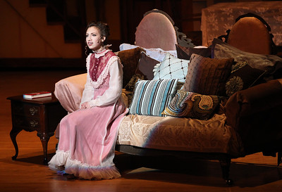 "Candace H. Johnson-For Shaw Media Cecelia Hough, 15, of Round Lake as Winifred Banks sings, ""Being Mrs. Banks,"" in Act I during Spotlight Youth Theater's Mary Poppins at the College of Lake County in Grayslake."
