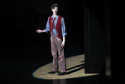 """Candace H. Johnson-For Shaw Media Matthew Schroeder, 17, of Gurnee, as Bert, sings, """"Chim Chim Cher-Ee,"""" during Spotlight Youth Theater's Mary Poppins at the College of Lake County in Grayslake."""
