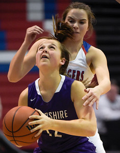 Dundee Crown junior Anna Kieltyka (cq) guards Hampshire senior Rachel Dumoulin from behind, during a Fox Valley Conference girls basketball game at Dundee Crown on Monday, Feb. 6, 2017. Dundee Crown won 49-44.