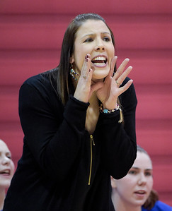 Dundee Crown Head Coach Sarah Miller yells to her players during a conference game against Hampshire at Dundee Crown on Monday, Feb. 6, 2017.