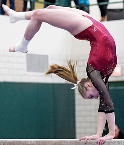 Prairie Ridge senior Alyssa Petko competes on the balance beam at the IHSA girls gymnastics sectional at Fremd High School on Tuesday, Feb. 7, 2017. Petko scored a 8.6520.