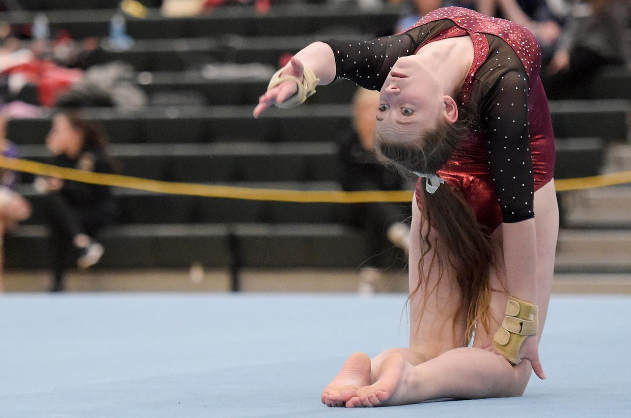 Prairie Ridge freshman Katie McEnery competes on floor at the IHSA girls gymnastics sectional at Fremd High School on Tuesday, Feb. 7, 2017.