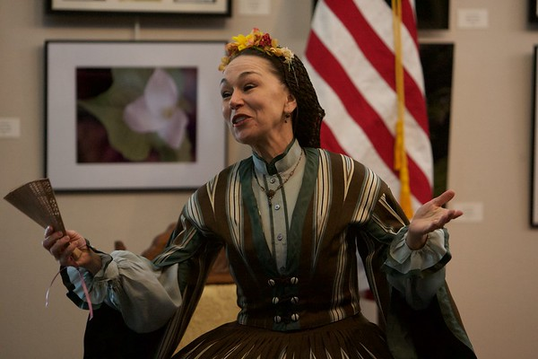 Mary Todd Lincoln, portrayed by Debra Ann Miller, talks to the crowd at the Norris Cultural Arts Center on Feb. 5 in St. Charles.