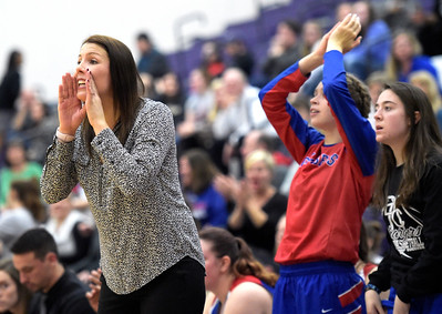 Dundee-Crown Head Coach Sarah Miller yells to her players Monday, Feb. 20, 2017, during the Class 4A Hampshire Sectional girls basketball semifinal against Rockford Boylan. Rockford Boylan won 47-37.