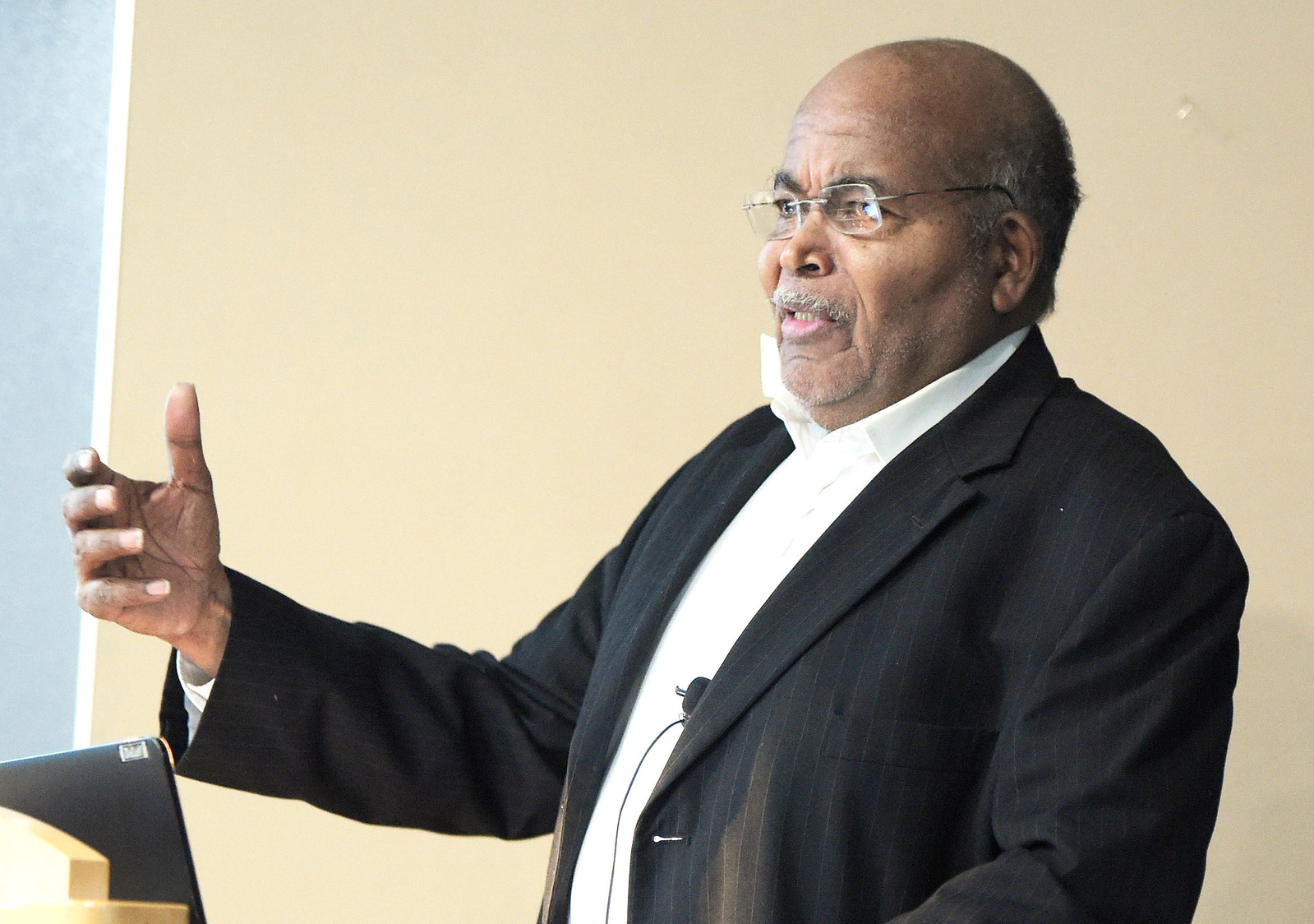 Civil rights activist and Freedom Rider Thomas Armstrong III speaks to a group of high school history students at the Algonquin Area Public Library Wednesday, Feb. 22, 2017, about his work during the civil rights movement.
