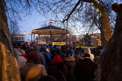 Crowds gather in the cold to see Woodstock Willie emerge from his tree trunk during the Groundhog Day festivities on the Woodstock Square on Friday, February 2, 2018 in Woodstock, Illinois. Willie saw his shadow predicting another 6 weeks of winter. John Konstantaras photo for Shaw Media