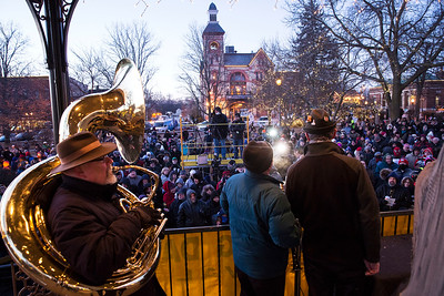 The Die Musikmeisters polka band plays for the crowd during the Groundhog Day festivities on the Woodstock Square on Friday, February 2, 2018 in Woodstock, Illinois. John Konstantaras photo for Shaw Media