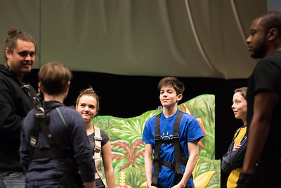Whitney Rupp for Shaw MediaCast members from Peter Pan receive instruction for flying on stage. Pictured, from left, are William Courson, DeKalb, Mitchell Hopkins, 14, Julia Kopfman, 17, Daniel Marabe, 15, Sam Scholl, 12, and Justin Williams, DeKalb.