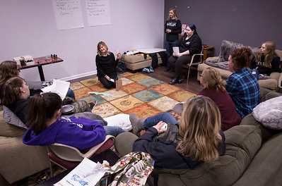 Gayle Nitsche, with Argonne Charitable Foundation, talks with a program for teen girls called Estrogen Express at the Break Teen Center on Saturday, February 3, 2018 in Crystal Lake, Illinois. John Konstantaras photo for Shaw Media