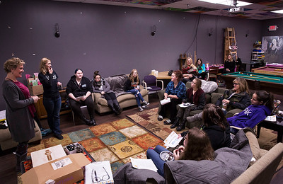 Kate Halma, left, and Brenda Napholz have a meeting with a group of teen girls meet in the Estrogen Express program at the Break Teen Center on Saturday, February 3, 2018 in Crystal Lake, Illinois. John Konstantaras photo for Shaw Media