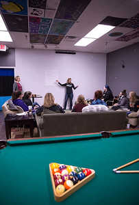 Brenda Napholz leads a program for teen girls called Estrogen Express at the Break Teen Center on Saturday, February 3, 2018 in Crystal Lake, Illinois. John Konstantaras photo for Shaw Media