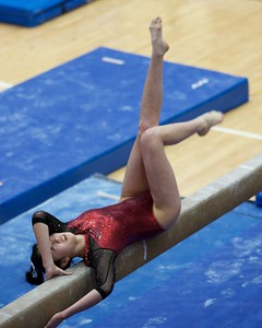 Prairie Ridge's Maddy Kim  performs on the balance beam on Feb 7 at Hoffman Estates Sectional.