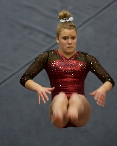 Prarie Ridge's Clancy Raupp performs on the floor exercise  on Feb 7 at Hoffman Estates Sectional.