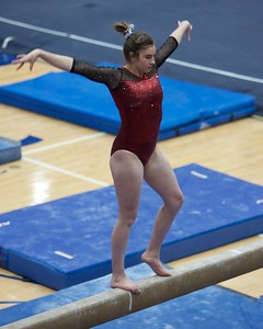 Prarie Ridge's Macey Woodlock performs on the balance beam on Feb 7 at Hoffman Estates Sectional.