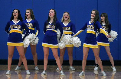 Candace H. Johnson-For Shaw Media Johnsburg cheerleaders cheer for their varsity boys basketball team as they play against Richmond-Burton at the end of the third quarter at Johnsburg High School.