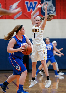 Courtney Durben (1) from Jacobs defends Haley Bohne (11) from Larkin in the first quarter during the Class 4A South Elgin Regional play-in game on Monday, February 12, 2018 in South Elgin, Illinois. The Royals defeated the Golden Eagles 39-44. John Konstantaras photo for Shaw Media