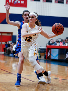 Courtney Pahl (12) from Jacobs drives past Amber Allen (5) from Larkin in the fourth quarter during the Class 4A South Elgin Regional play-in game on Monday, February 12, 2018 in South Elgin, Illinois. The Royals defeated the Golden Eagles 39-44. John Konstantaras photo for Shaw Media