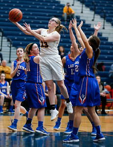 Kerri Healy (23) from Jacobs drives through the Larkin defense to score in the second quarter during the Class 4A South Elgin Regional play-in game on Monday, February 12, 2018 in South Elgin, Illinois. The Royals defeated the Golden Eagles 39-44. John Konstantaras photo for Shaw Media