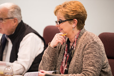 Whitney Rupp for Shaw Media Amy Blazier, school board member for District 155, listens to a speaker at a meeting Feb. 12.