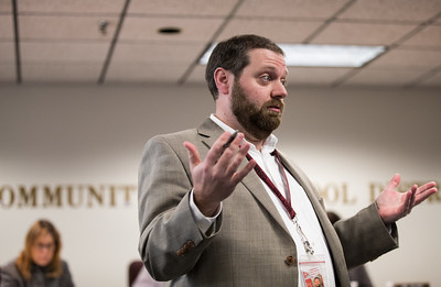Whitney Rupp for Shaw Media Assistant Superintendent Jeremy Davis speaks during a District 155 meeting Monday, Feb. 12.