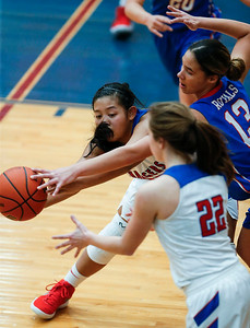 Alyssa Crenshaw (30) passes the ball to Anna Kieltyka (22) from Dundee-Crown as Brianna Young (13) from Larkin pressures in the fourth quarter of their Class 4A South Elgin Regional game on Tuesday, February 13, 2018 in South Elgin, Illinois. The Chargers defeated the Royals 55-31. John Konstantaras photo for Shaw Media