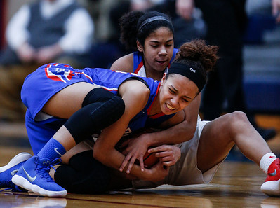 Alyssa Crenshaw (behind) from Dundee-Crown and Aaliyah Dixon (23) from Larkin battle for possession in the first quarter of their Class 4A South Elgin Regional game on Tuesday, February 13, 2018 in South Elgin, Illinois. The Chargers defeated the Royals 55-31. John Konstantaras photo for Shaw Media