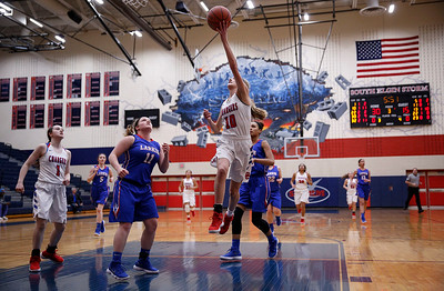 Katelyn Skibinski (10) from Dundee-Crown drives to the basket past Haley Bohne (11) from Larkin in the third quarter of their Class 4A South Elgin Regional game on Tuesday, February 13, 2018 in South Elgin, Illinois.  John Konstantaras photo for Shaw Media